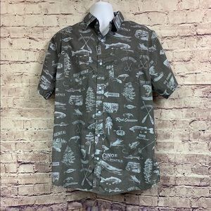 Reel Obsession Grey Print Button Front Shirt